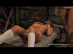 Tied Up Slave With Neck Collar Masturbates To Orgasm
