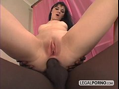 Big black cock fucking a horny brunette in the ...