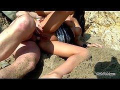 Cheated babe fuck on the beach in sand and eat cum