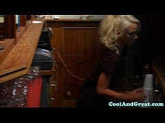 Petite pounded waitress babe fucked in office