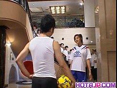 Naughty Asian teen Azusa Ayano gangbanged in ho...