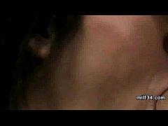 Big-breated horny milf's bedroom seduction