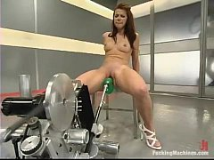 Hot babe fucked by machine