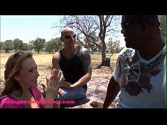 SwingersWatching.com black husband watches white trash whore wife massive tits