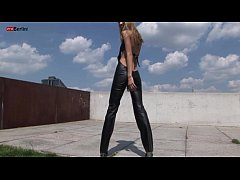 Eroberlin 18yo Cassandra leather teeny outdoor blond skinny Fotze jung slot