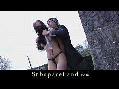 Brutally fucked outdoor slaves beg for mercy in...