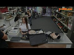 Pretty Latina stewardess fucked at the pawnshop...