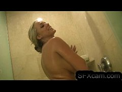 Sexy blonde masturbates in the shower very hot ...