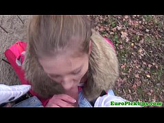Pulled young euro babe outdoor creampied