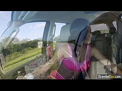 Teen Nadia flashes cars with her tits to get a ...