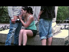 Pretty teen girl PUBLIC gangbang in front of a ...