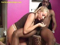 Blonde Barbi BJs for Two Blacks