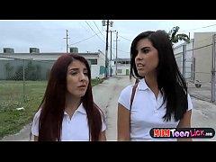 School skipping teens lesbian threesome with an...