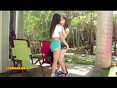 Hot & seductive brunette kissing friend teen