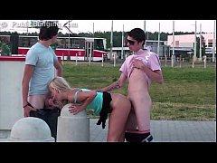 Extreme risky public street sex teen gang bang ...