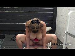 Natural huge tits hottie bangs outdoor in public