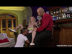 Blonde wife share with barman