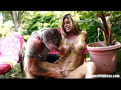 Oiled-Up Photoshoot And Creampie With MILF Kris...