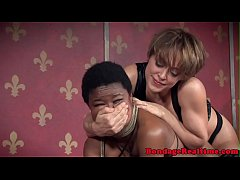 Ebony submissive facefucked by dominator duo