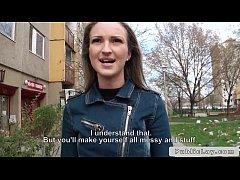 Blonde Hungarian amateur bangs big dick outdoors