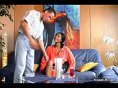 Black girl gives her man a nice blowjob