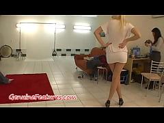 Beatiful blonde does sexy striptease