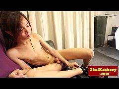 Thai skinny ladyboy with braces jerks