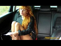 Redhead Liza flashes and fucked in taxi cab wit...