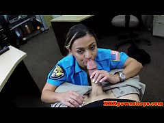 Curvy cop riding cock because she needs cash