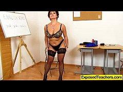Sexy oma masterbates at the classroom