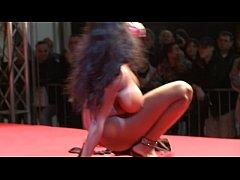 busty ebony on public stage