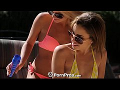 PornPros Nude girls at pool oil up and suck coc...
