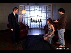 Japanese spy babe gives a hot double blowjobs u...