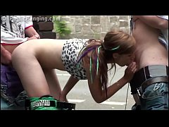 PUBLIC sex street fuck threesome with Alexis Cr...