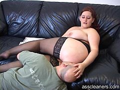 Big titted mistress lets man lick her pussy bef...