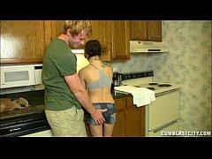 Cute Brunette Cumblasted In Kitchen