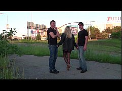 Pretty blonde PUBLIC street gangbang threesome ...
