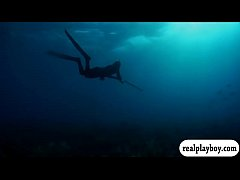 Badass babes spear fishing while naked and visi...