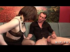 Amateur french brunette in stockings hard double penetrated