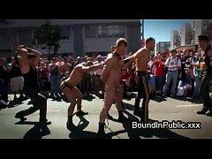 Rowdy men fucking stripper in public bar