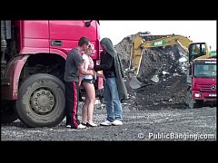 Construction site PUBLIC gangbang with a young ...