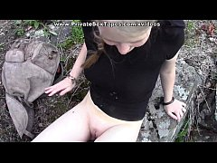 Watch my gf fucked in the open air through pantyhose hole
