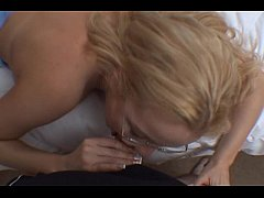 Blonde With Glasses Sucking Cock