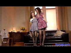 British MILF lez fun with petite teen