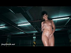 Jeny Smith oiling her naked body in a public pa...