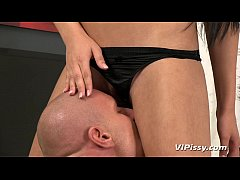 Spoiled Anna Rose plays with her employees piss