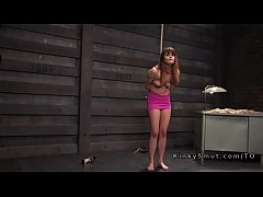 Tied up and spread sub gets fucked in dungeon