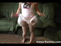 Tiny teen Kitty in a cute little pink skirt