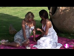 Viv Thomas Lesbian HD - Blonde and brunette babes having sex at the garden