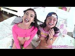 SWALLOWED Aidra Fox and Marley Brinx gagging on...